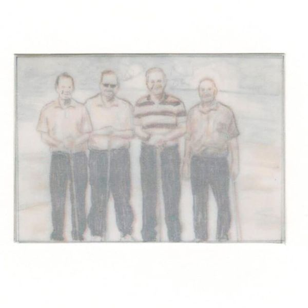 """Four men in matching trousers"" by Philip M. Jonathan, mnoermark (2 of 2)"