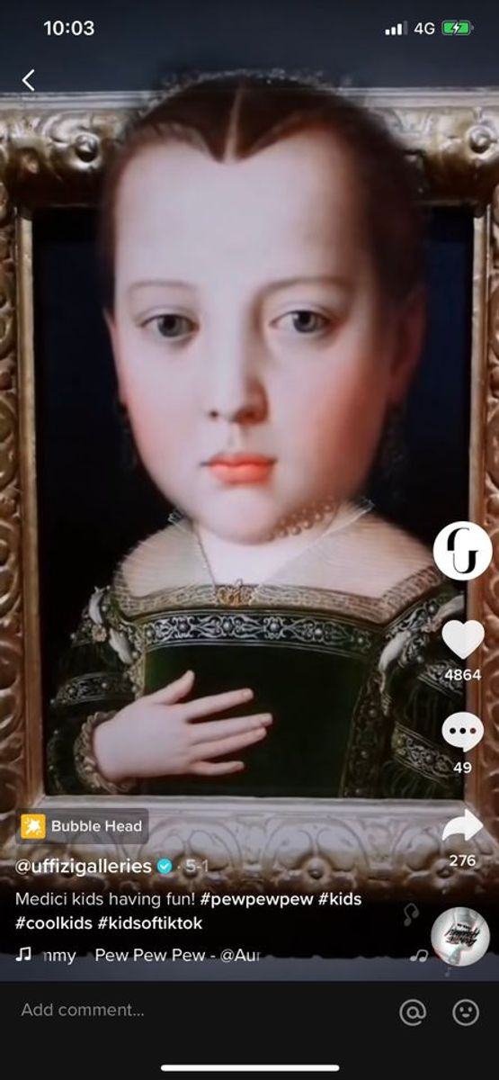 Uffizi's new TikTok account sets masterpieces to soundtracks by Adele and The Weeknd