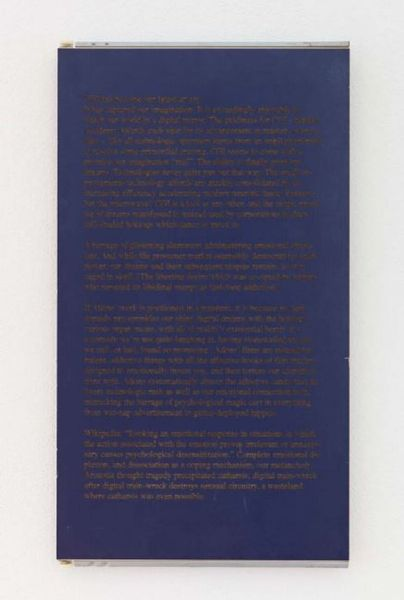Untitled (wall text) by Ed Atkins, dépendance