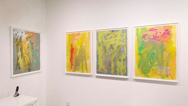 Paintings on Italian colored papers by Leah Durner, Loretta Howard Gallery