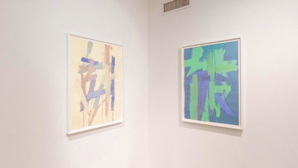 Paintings on Italian colored papers by Leah Durner, Loretta Howard Gallery (2 of 3)