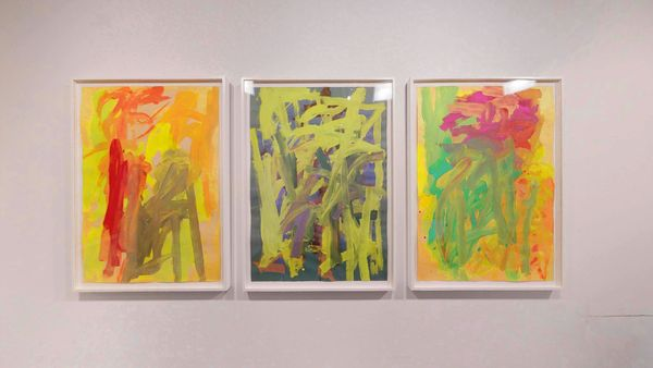 Paintings on Italian colored papers by Leah Durner, Loretta Howard Gallery (3 of 3)