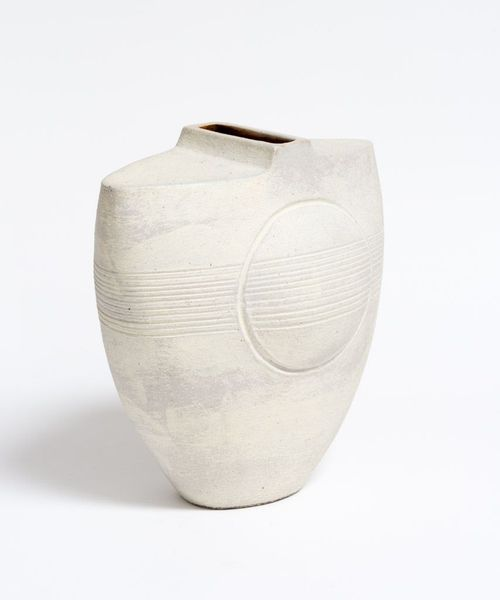 White Vase with Circle and Lines