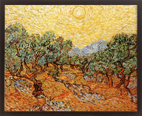 Pictures of Pigment: Olive Trees with Yellow Sky and Sun, After Van Gogh