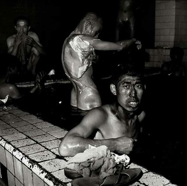 Two Miners in Public Bathhouse