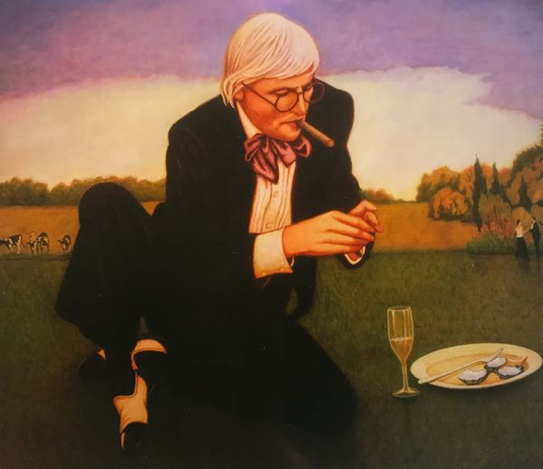 Hockney enjoying Oysters,Champagne and a cigar by Bob Marchant, Anthony Horth Gallery