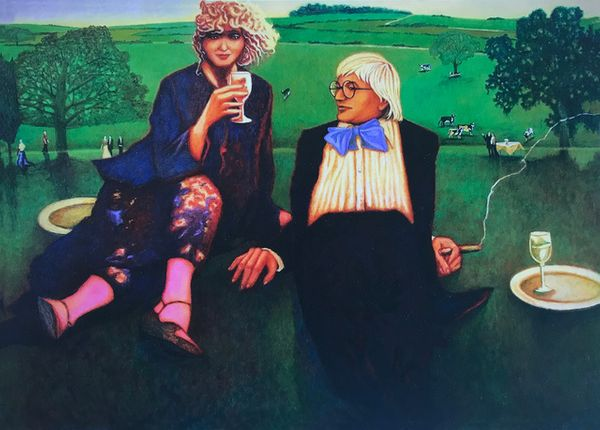 David Hockney and Celia Birtwell relaxing in the gardens of Glyndebourne by Bob Marchant, Anthony Horth Gallery