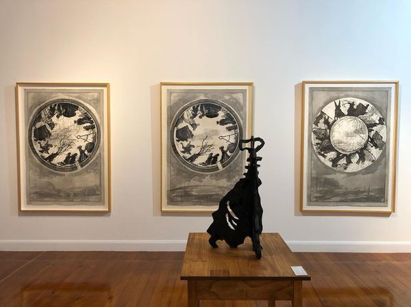 drawings, sculpture, woodcuts, kinetic theatre installation and rare vintage works