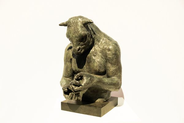 Large Minotaur Bust (with bird) on steel base