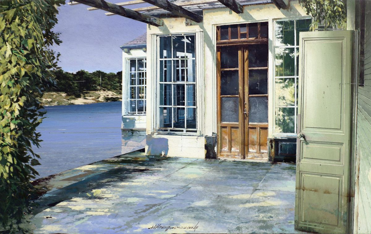 Matteo Massagrande | La casa sulla darsena | 2020 | Oil and mixed media on board | 30 x 48 cm (11.8 x 18.9 in)