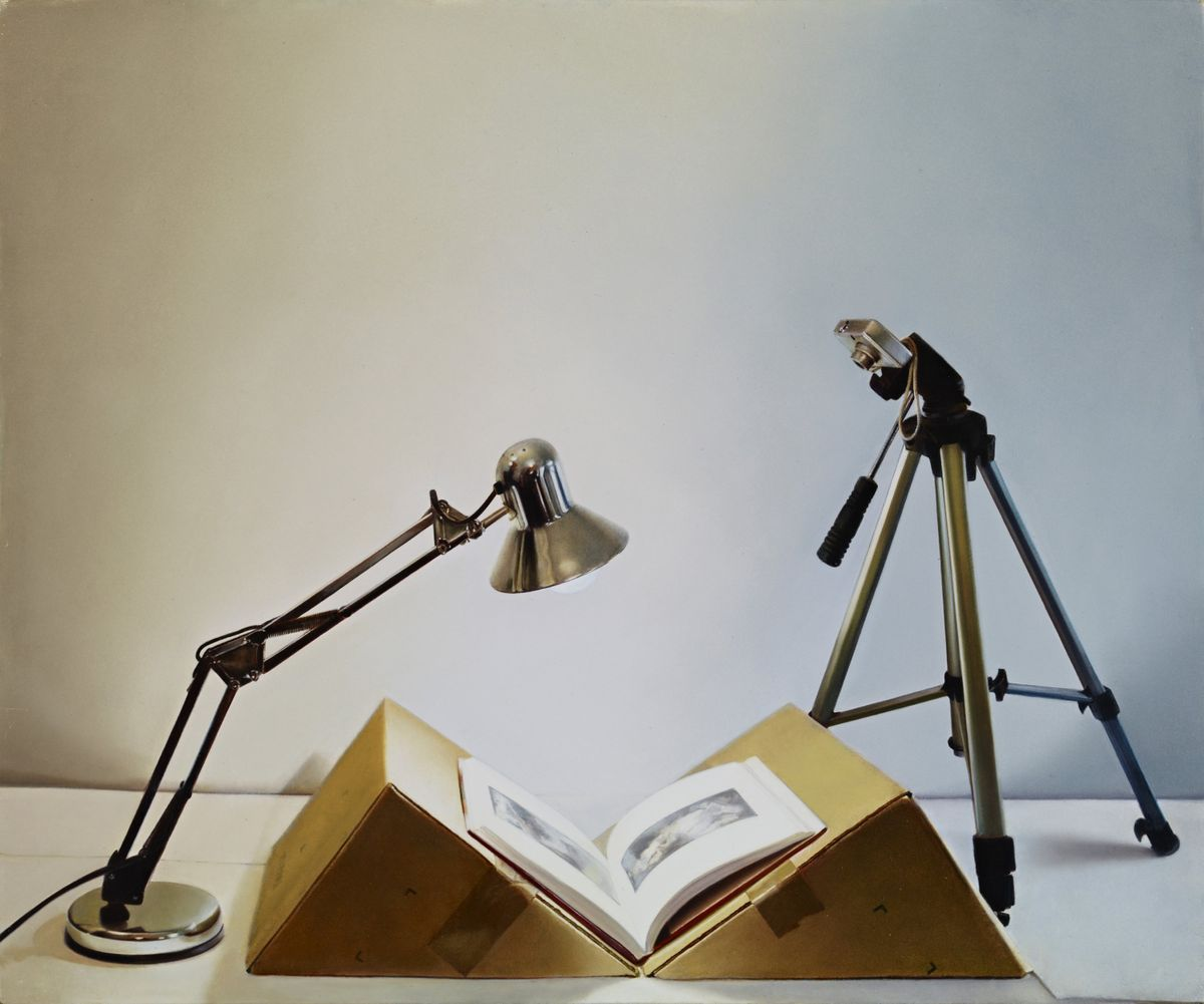 Claire Kerr, Home-made book scanner with catalogue. 2012