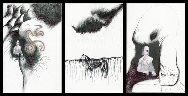 De niñas y bestias (From girls and beasts) | Triptych by Mónica Mayer, waldengallery