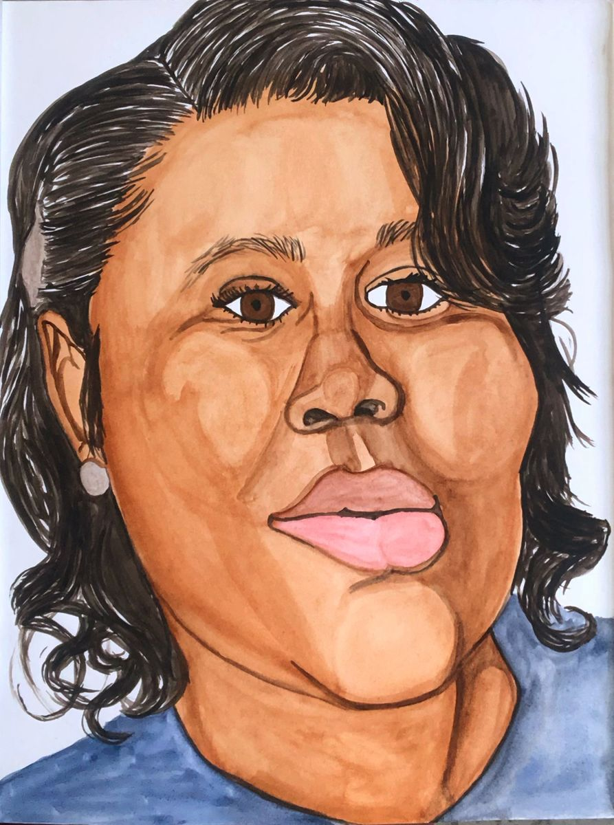 Breonna Taylor, a 26-year-old emergency medical technician shot 8 times by Louisville Police who entered her apartment without knocking, Watercolor, 12 x 9 in